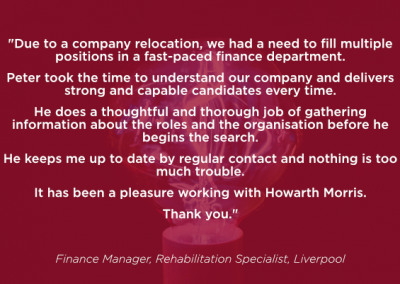 Finance Manager, Rehabilitation Specialist
